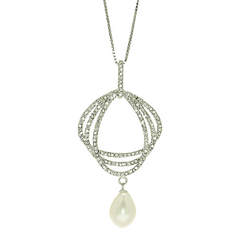 Buy Lido Large Cubic Zirconia Set Triple Ring Pendant Necklace, White Online at johnlewis.com