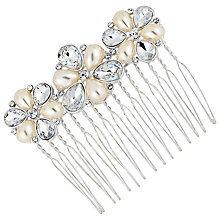 Buy Alan Hannah Silver Plated Glass Pearl Crystal Teardrop Comb Online at johnlewis.com