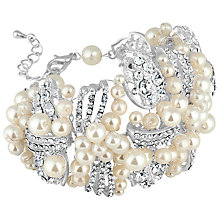 Buy Alan Hannah Freshwater Pearl and Crystal Cuff Bracelet, Silver Online at johnlewis.com