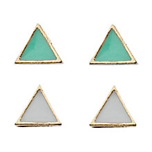 Buy Orelia Enamel Triangle Stud Earring Two Pack, Green / White Online at johnlewis.com