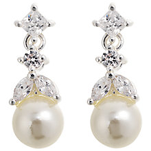 Buy Alan Hannah Silver Plated Freshwater Pearl Cubic Zirconia Drop Earrings Online at johnlewis.com