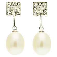 Buy Lido Oval Pearl Open Square Cubic Zirconia Set Stud Earring, White Online at johnlewis.com