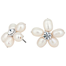 Buy Alan Hannah Freshwater Pearl Crystal Flower Stud Earrings, White Online at johnlewis.com