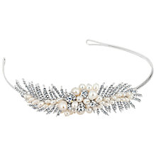 Buy Alan Hannah Freshwater Pearl Crystal Leaf Spray Headband, Silver Online at johnlewis.com