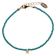 Buy Orelia Semi Precious Stone Beaded Tiny Star Pendant Bracelet, Turquoise Online at johnlewis.com