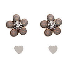 Buy Orelia Stone Flower & Tiny Heart Double Earring Set , Brown Online at johnlewis.com
