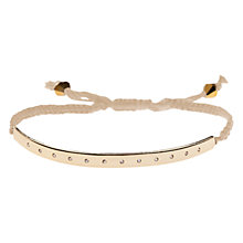 Buy Orelia Crystal Studded Metal Bar Gold Beaded Friendship Cord Bracelet, Gold Online at johnlewis.com