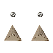 Buy Orelia 3D Triangle & Diamante Stud Earrings 2 Pack, Gold / Silver Online at johnlewis.com