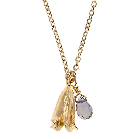 Buy Alex Monroe 22ct Gold Plated Iolite Baby Bluebell Pendant Necklace, Gold Online at johnlewis.com
