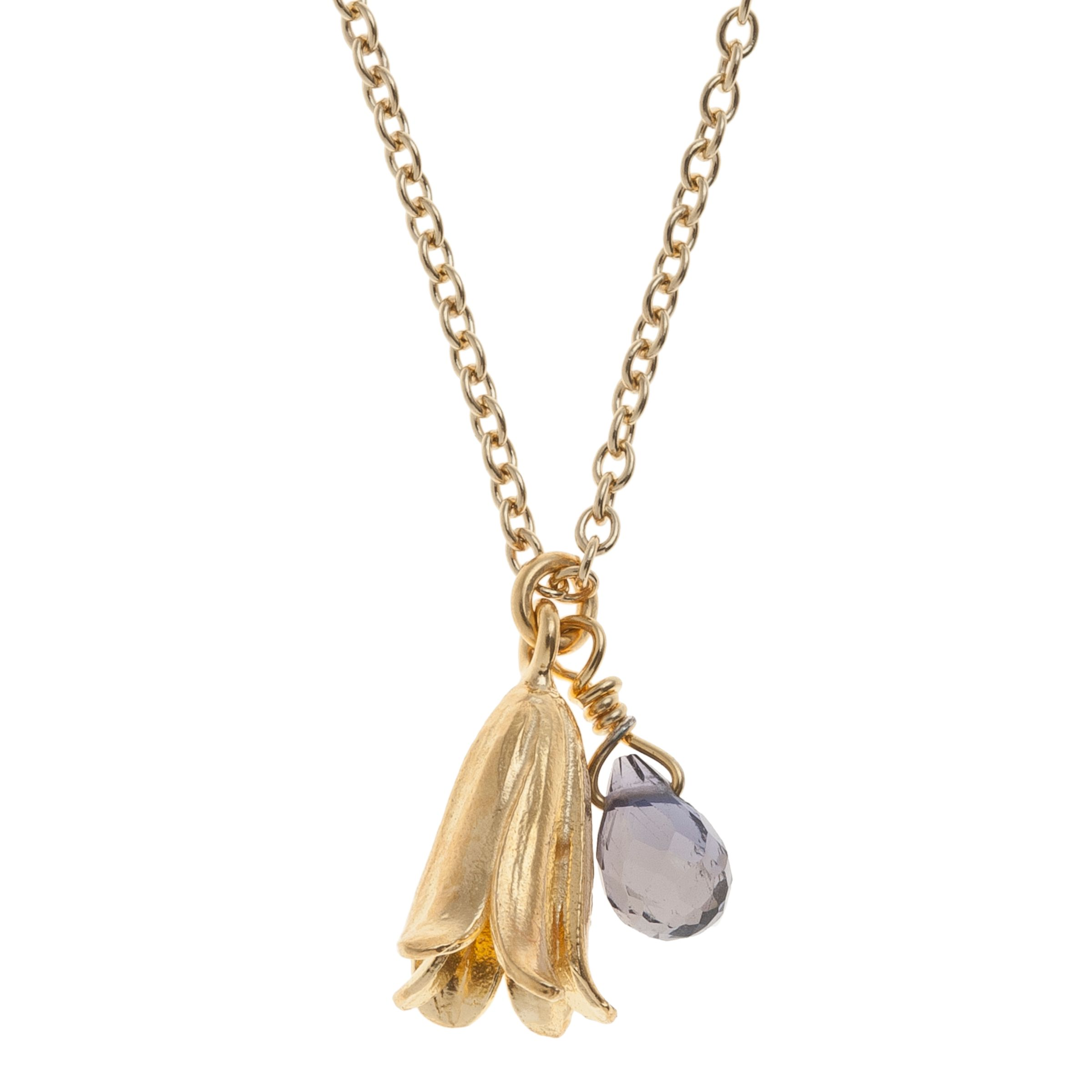 Alex Monroe Alex Monroe 22ct Gold Plated Iolite Baby Bluebell Pendant Necklace, Gold