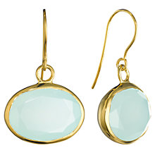 Buy Pomegranate 18ct Gold Vermeil Oval Stone Drop Earrings, Aqua Chalcedony Online at johnlewis.com