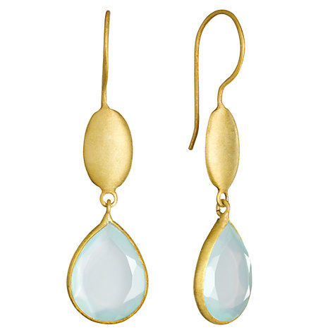 Buy Pomegranate 18ct Gold Vermeil Double Pear Drop Long Earrings, Aqua Chalcedony Online at johnlewis.com