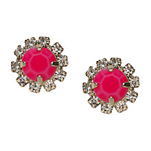 Buy Orelia Pink Stone Crystal Surround Stud Earrings, Gold Online at johnlewis.com