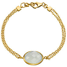 Buy Pomegranate 18ct Gold Vermeil Double Chain Bracelet, Aqua Chalcedony Online at johnlewis.com