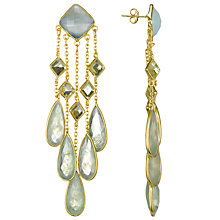 Buy Pomegranate 18ct Gold Vermeil Multi Chandelier Drop Earrings, Aqua Chalcedony Online at johnlewis.com