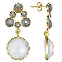 Buy Pomegranate 18ct Gold Vermeil Mini Cluster Round Drop Earrings, Labradorite / Moonstone Online at johnlewis.com