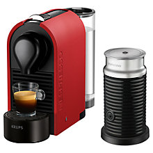 Buy Nespresso U Coffee Machine with Aeroccino by Krups, Matt Red Online at johnlewis.com