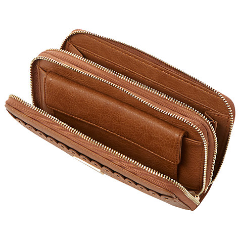 Buy Dune Kipscallop Double Zip Around Purse, Tan Online at johnlewis.com