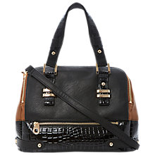 Buy Dune Daceship Colour Block Structured Bag, Black Croc Online at johnlewis.com