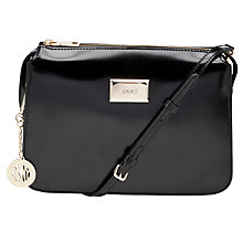 Buy DKNY Hudson Leather Triple Across Body Handbag, Black Online at johnlewis.com