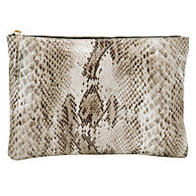 Buy COLLECTION by John Lewis Snake Print Clutch Bag, Natural Online at johnlewis.com