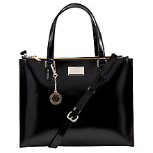 Buy DKNY Hudson Double Zip Leather Shopper Handbag, Black Online at johnlewis.com
