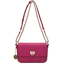 Buy DKNY Vintage Leather Across Body Handbag, Raspberry Online at johnlewis.com