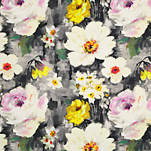 Buy John Lewis Vibrant Flower Fabric, Grey Online at johnlewis.com