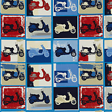 Buy John Lewis Funky Scooter Fabric, Blue Online at johnlewis.com