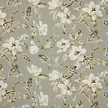 Buy John Lewis Aster Floral Fabric, Grey Online at johnlewis.com
