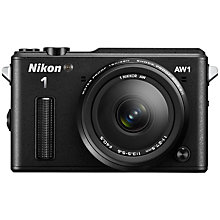 "Buy Nikon 1 AW1 Waterproof Compact System Camera with 11-27.5mm Rugged Lens, HD 1080p, 14.2MP, GPS, 3"" LCD Screen with 16GB + 8GB Memory Card Online at johnlewis.com"
