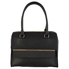 Buy Warehouse Metal Bar Flap Top Tote Handbag, Black Online at johnlewis.com