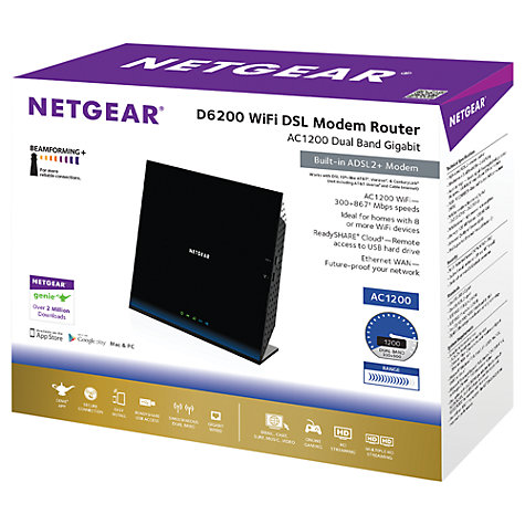 Buy Netgear D6200 AC1200 Dual Band Gigabit Wi-Fi Modem Router for ADSL Connections Online at johnlewis.com