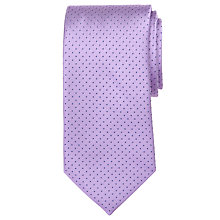 Buy John Lewis Mini Dot Silk Tie, Lilac/Navy Online at johnlewis.com