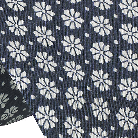 Buy John Lewis Made in Italy Flower Print Tie, Navy Online at johnlewis.com