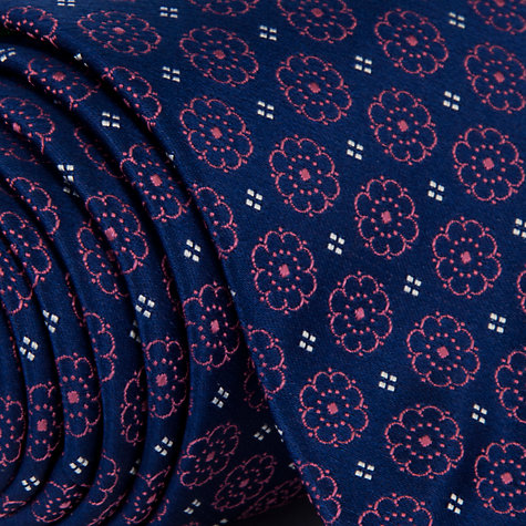 Buy Eton Floral Print Tie, Navy/Pink Online at johnlewis.com