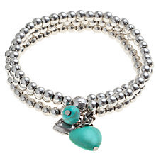 Buy John Lewis Triple Row Turquoise Charms Bracelet, Silver Online at johnlewis.com