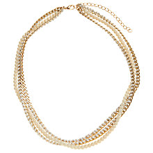 Buy John Lewis Multi Row Chain Bead Necklace, Cream Online at johnlewis.com