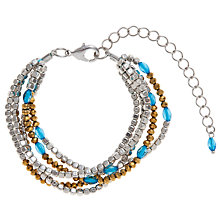 Buy John Lewis Multi Row Turquoise Cord Silver Nugget Beads Bracelet, Silver Online at johnlewis.com