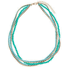Buy John Lewis Multi-Row Chain and Bead Necklace, Turquoise Online at johnlewis.com