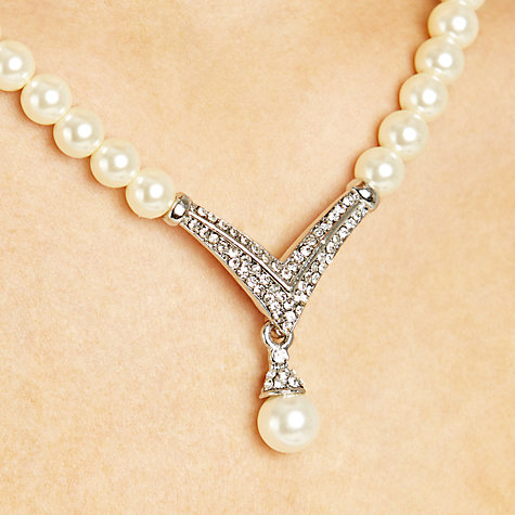 Buy John Lewis V-Drop Glass Pearl Necklace, White Online at johnlewis.com