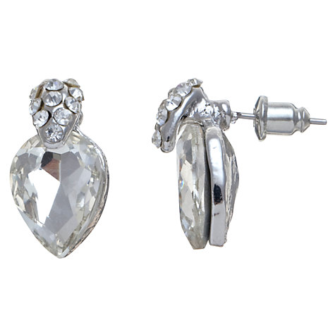 Buy John Lewis Faceted Pear Crystal Drops Stud Earrings, Clear Online at johnlewis.com