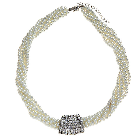 Buy John Lewis Twisted Pearl Pave Crystal Front Necklace, White Online at johnlewis.com