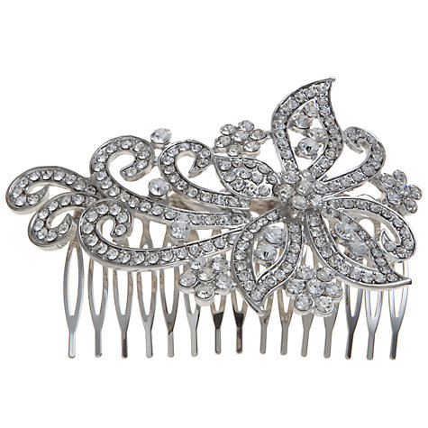 Buy John Lewis Large Crystal Swirl Dress Comb, Silver Online at johnlewis.com
