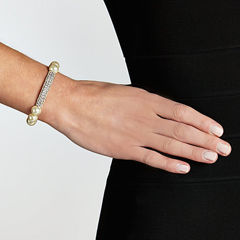 Buy John Lewis Pearl Pave Bar Stretch Bracelet, White Online at johnlewis.com