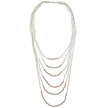 Buy John Lewis Six Row Seed and Facet Bead Long Statement Necklace, Cream Online at johnlewis.com