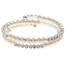 Buy John Lewis Pearl Glass Diamante Spiral Bracelet, Clear Online at johnlewis.com