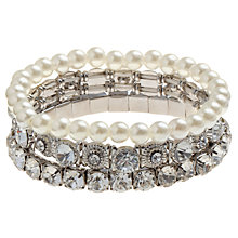 Buy John Lewis Pearl Stretch Bracelets, Pack of 3, White / Crystal /  Silver Online at johnlewis.com
