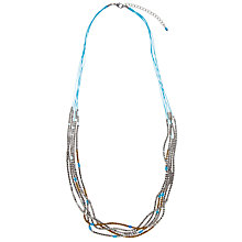 Buy John Lewis Multi Row Turquoise Cord Silver Nugget Beads Necklace, Silver Online at johnlewis.com