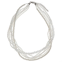Buy John Lewis Multi Row Glass Pearl Crystal Bead Necklace, White Online at johnlewis.com